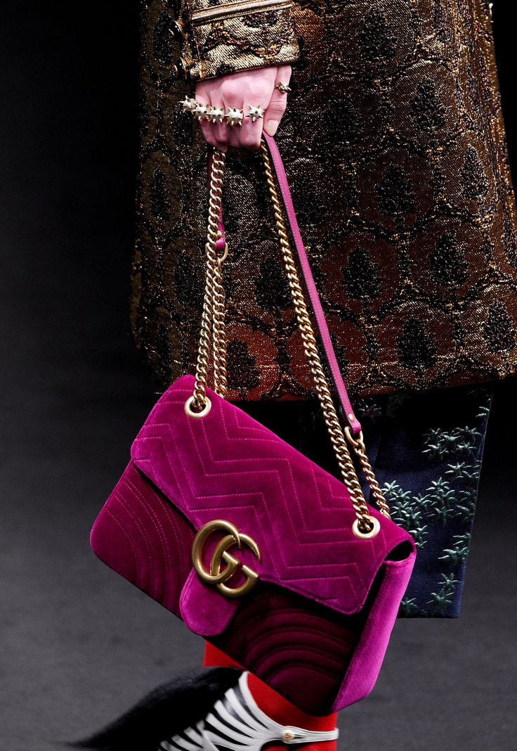 See Glorious Detail Shots of Gucci's Drool-Worthy Fall 2016 Accessories - Jewel-toned velvet and the classic double Gs - from InStyle.com