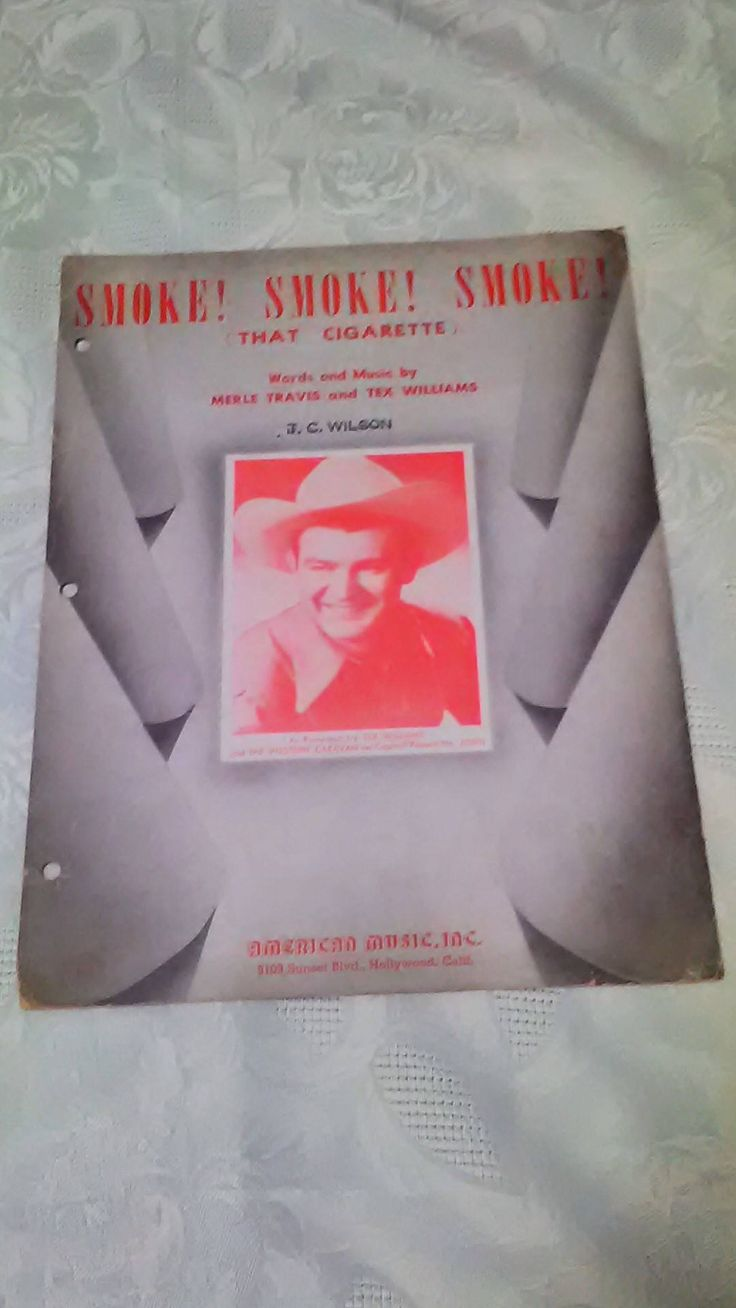 Vintage Sheet Music, Merle Travis, Tex Williams, Smoke that Cigarette, Music Lover, Sheet Music Art, Mixed Media, Gift for Musician, Decor by FromBasementToArt on Etsy