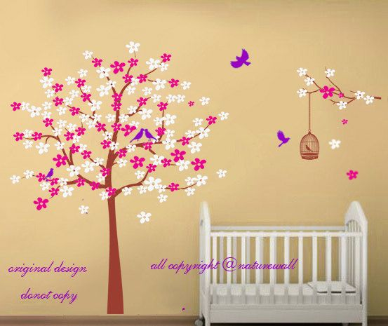 Baby wall decals cherry blossom  tree decals kids by NatureWall, $72.00