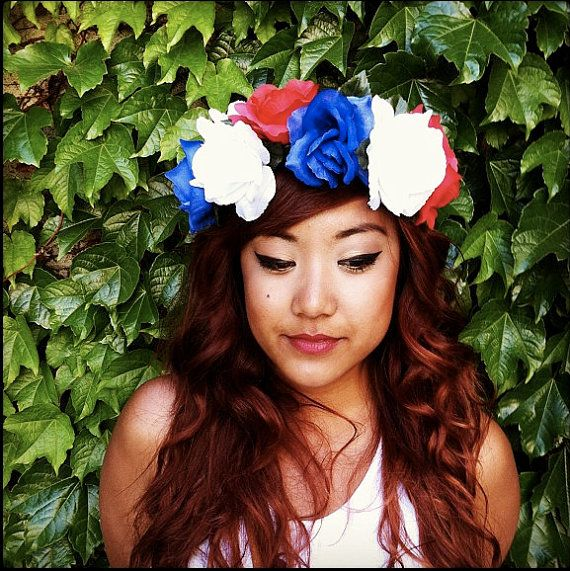 SALE PRICE-Flower Crown Headband, Coachella, Music festival, Rave accessory -Red White & Blue Roses, American patriotic crown