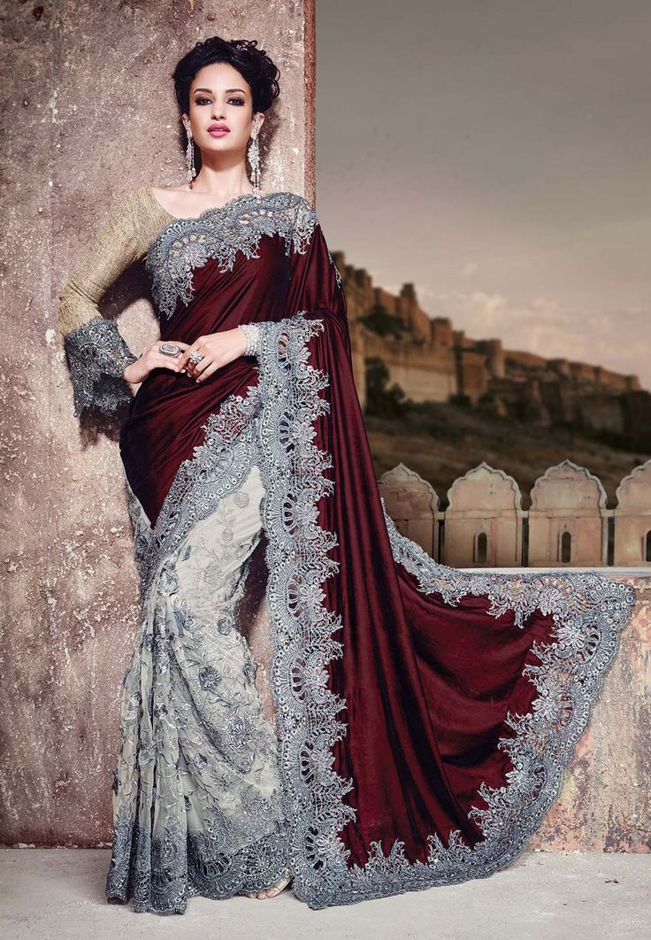 You Are Sure To Make A Effective Style Statement With This Grey And Brown Velvet Net Designer Saree The Embroidered Patch Border Work Appea