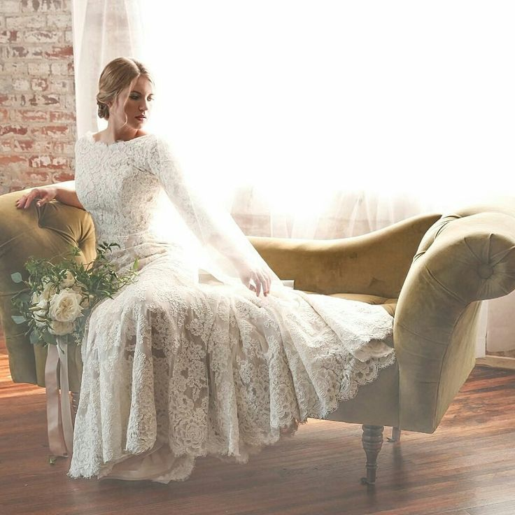 modest wedding dress with long lace sleeves from alta moda. --(modest bridal gown)--