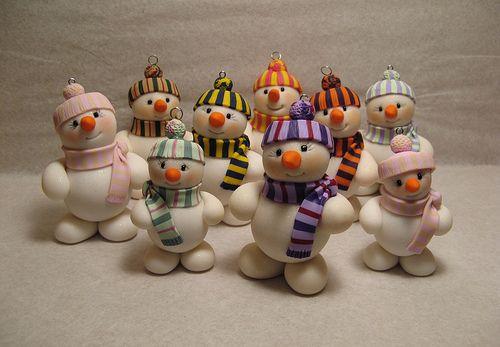 Whimsical Snowmen Ornaments   Custom orders   Judith Gauthier   Flickr