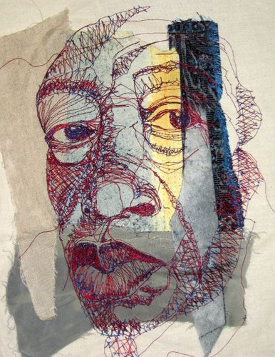Shirley Nette Williams - stitch portrait - machine embroidery on various fabrics.