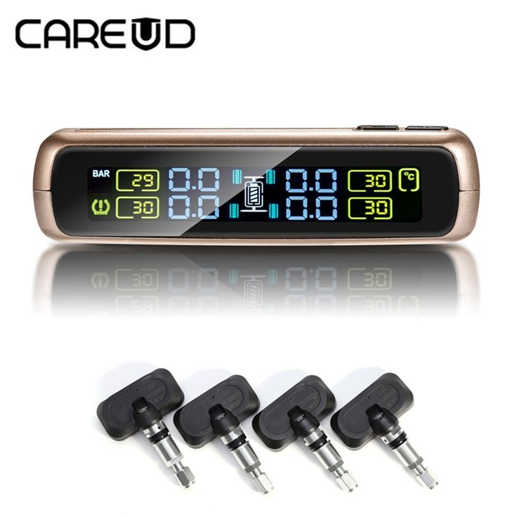 61.19$  Watch now - http://alieym.shopchina.info/1/go.php?t=32816900477 - CAREUD Car TPMS auto wireless tire pressure monitoring system with 4 internal sensors Solar power and USB charge LCD display  #buyonline