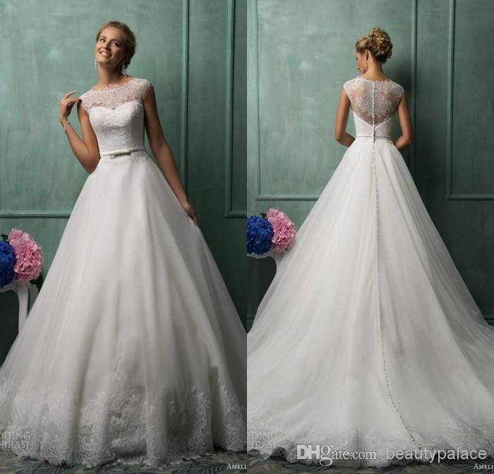 Wholesale Wedding Dresses - Buy 2014 Amelia Sposa Best Selling A Line Jewel Chapel Train White Organza Lace Wedding Dresses Illusion Back We...
