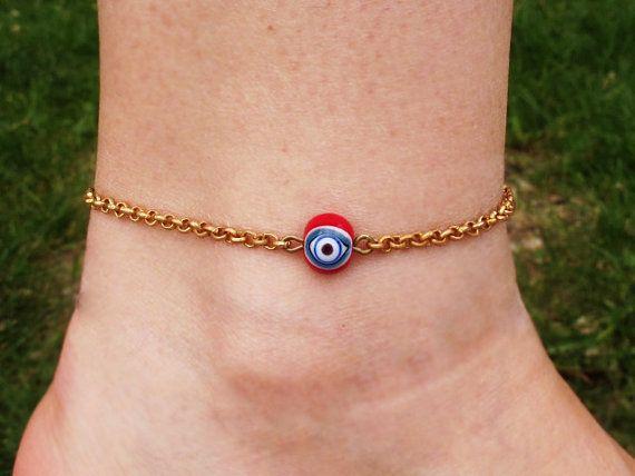 Evil Eye Anklet Brass Chain Ankle Bracelet by GlassHouseLampwork