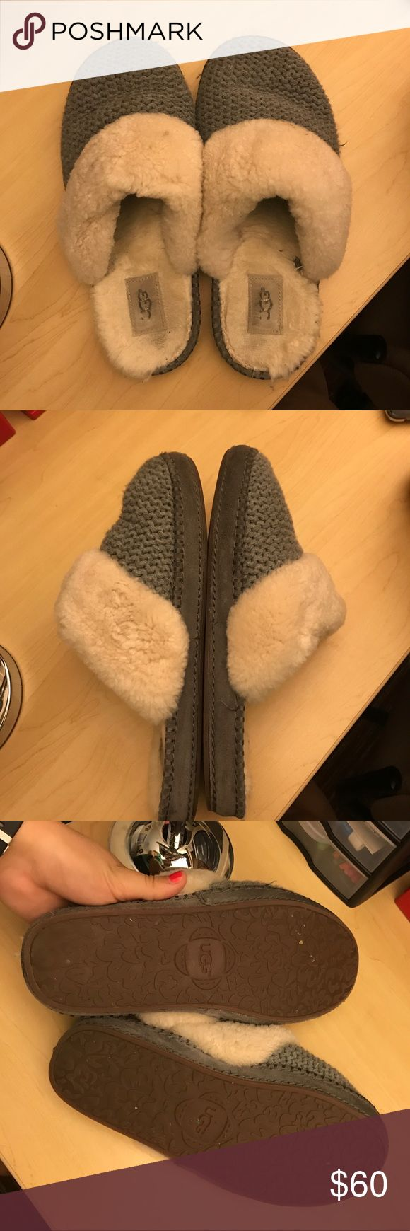 Knit UGG Slippers Grey knit UGG slippers in pretty good condition. Normal wear and tear!!! Worn but still so stylish and comfy! Can be cleaned. UGG Shoes Slippers