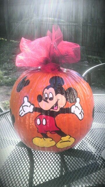 The gallery for disney painted pumpkin for How to paint a mickey mouse pumpkin