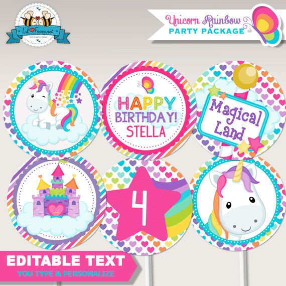 Unicorn Rainbow Birthday Party Cupcake + Cupcake Wrappers