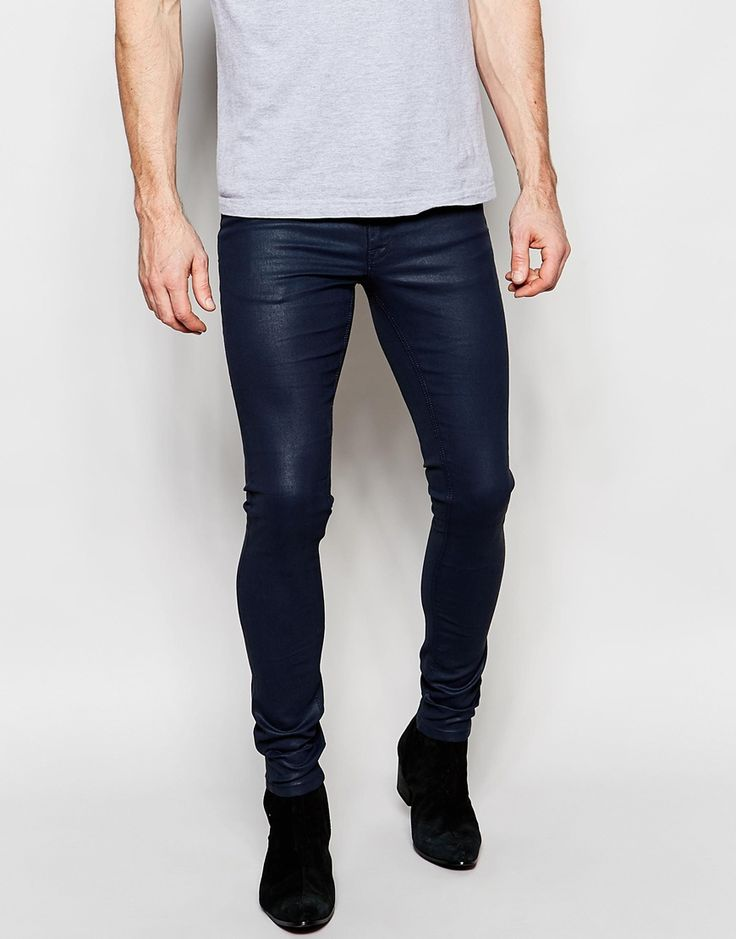 Image 1 ofASOS Extreme Super Skinny Jeans In Heavy Coated Navy