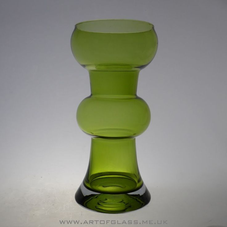 Riihimaki olive green glass vase by Tamara Aladin