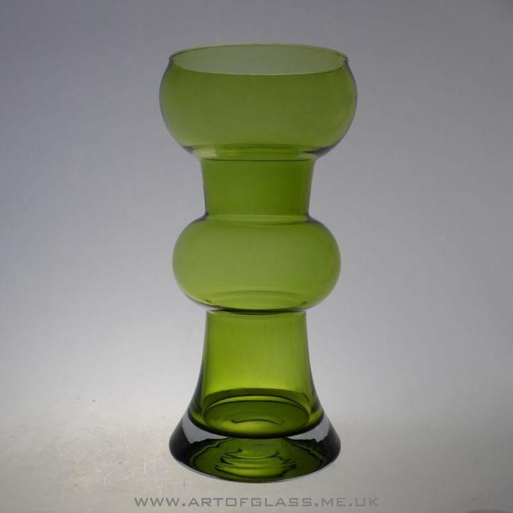 Riihimaki olive green glass vase by Tamara Aladin