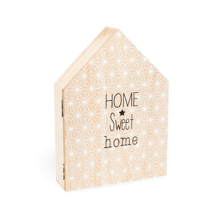 Bo te cl s en bois h 25 cm home sweet home scandinavian living room salon scandinave - Boite a cles bois ...