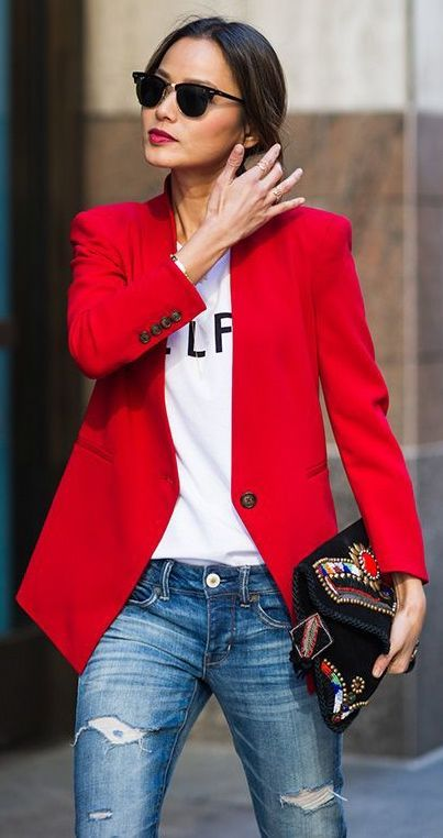 Bold blazer and bold lip with simple jeans and a tee