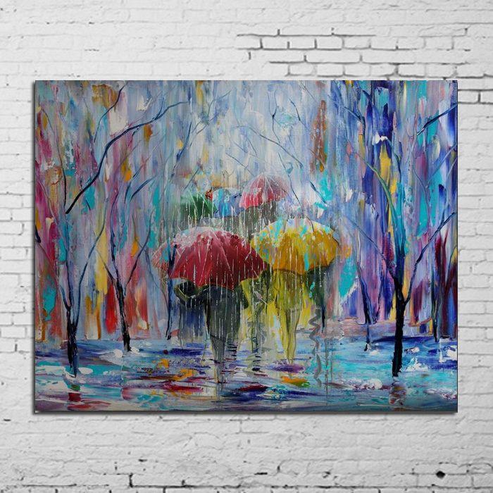 handgeschilderd schilderij landschap kunst schilderij op doek fijn home decor schilderij van paraplu regen stadsbeeld schilderen met olieverf geen frame(China (Mainland))