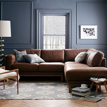 Dekalb 3-Piece Premium Leather Terminal Chaise Sectional #westelm | Home and Garden | Pinterest | Leather Living rooms and Room : west elm dunham sectional - Sectionals, Sofas & Couches