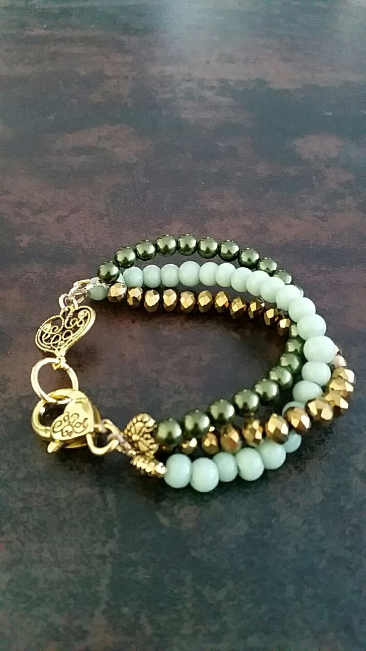 Gold&Green glass Pearls&Mintgreen glass