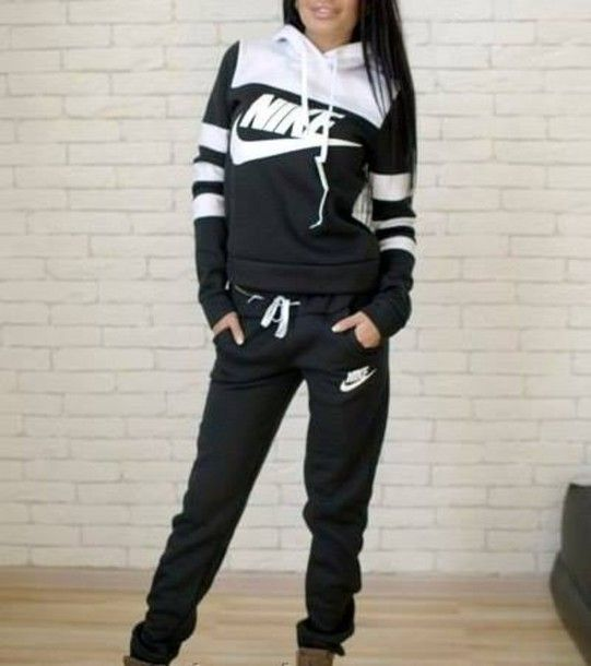 jumpsuit nike stripes striped sweater striped dress street black black and white tracksuit pants hoodie jacket longsleeve jumper sweatpants