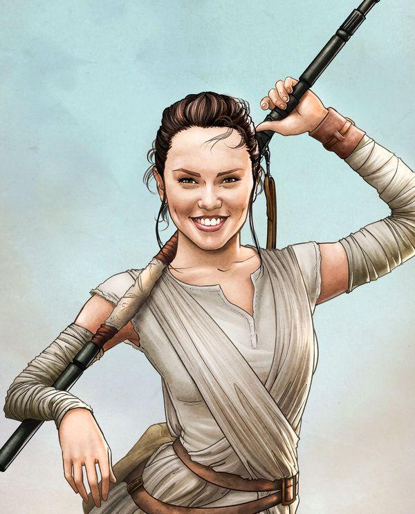 Rey-star-wars-closeup by Dominicabra. #StarWars #Art # ...