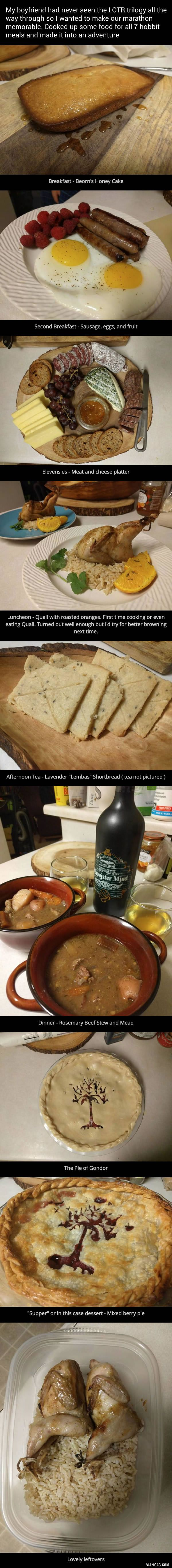 This girl cooked 7 hobbit meals for his boyfriend for their LOTR trilogy marathon - 9GAG