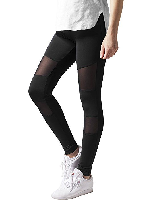 Urban Classics Women's Ladies Tech Mesh Leggings, Black (Black 7), X-Large