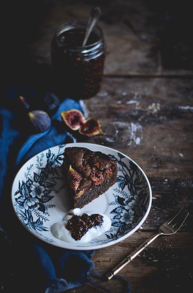 Fig, almond & carrob cake.