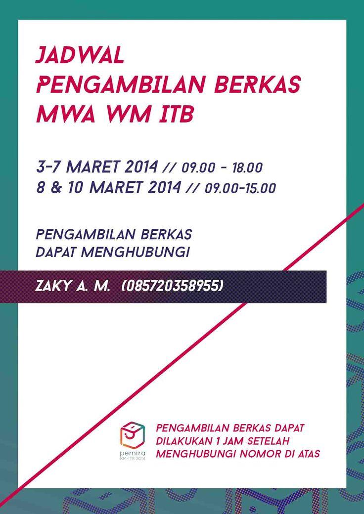 Jadwal Pengambilan Berkas MWA WM ITB 2014