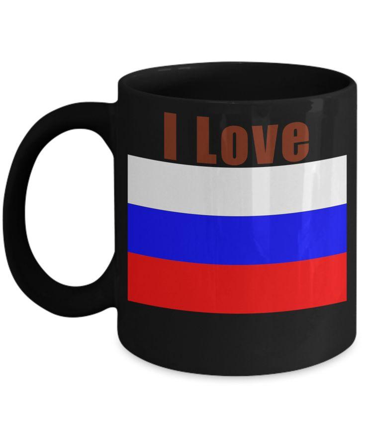 I Love Russia Coffee Mug With A Flag