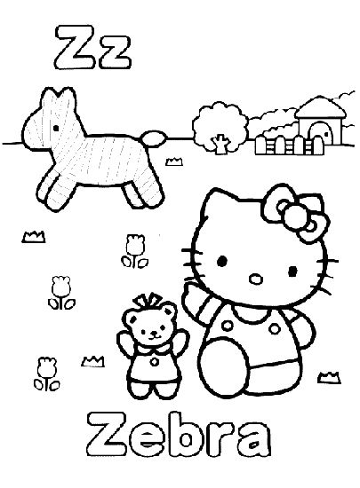 Hello kitty outside with friends coloring page