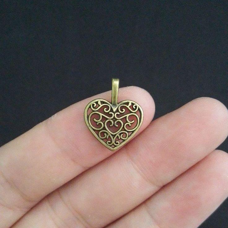 50Pcs Antique Bronze Heart Charm DIY Jewelry Making