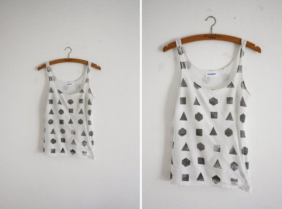 geometry tank: Clothing, Shirttank Tops, Geometry Tanks Stencil, White Grey Geometry, Products, Tops White Grey, Paper Planes, Shirts Tanks Tops, Diy Tanks Tops Patterns