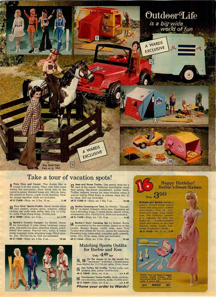 Ward's Exclusive Pinto Pony, Corral, Jeep and Horse Trailer. Also shown are Mod Hair Ken, Barbie's Country Camper, Campin' Out Tent, Goin' Camping Set, Sweet 16 Barbie and Fashions from the Montgomery Ward Christmas Catalog, 1974