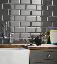 Grey brick effect kitchen wall tile