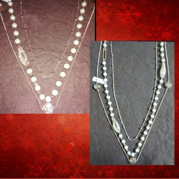 Collar largo triple perlas, cadenas chapa oro 14 kt