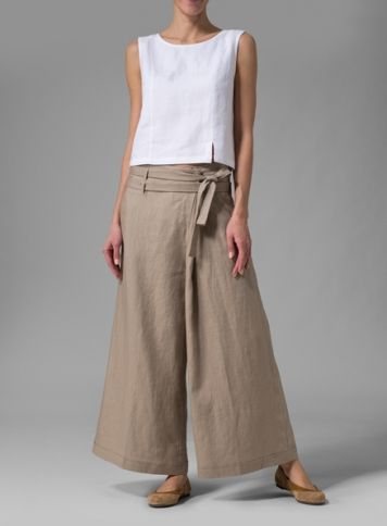 No pattern, just inspiration. Linen Sleeveless Short Tank With Wide-Leg Pants from Vivid