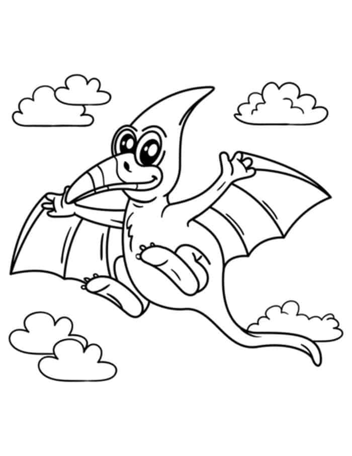 Cute Pteranodon Coloring Page From Dinosaur Coloring Pages With
