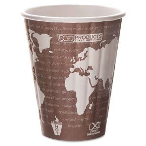 Eco-Products® - World Art Insulated Compostable Hot Cups, 8 oz., Maroon, 800/Carton - Sold As 1 Carton - Double-wall construction provides heat protection and insulation. by Eco-Products. $135.99. Eco-Products® - World Art Insulated Compostable Hot Cups, 8 oz., Maroon, 800/CartonThese hot cups help you send a green message to the world. Made from 100% renewable resources. Double-wall construction provides heat protection and insulation. Lined with PLA, a plant-based plastic. Fe...