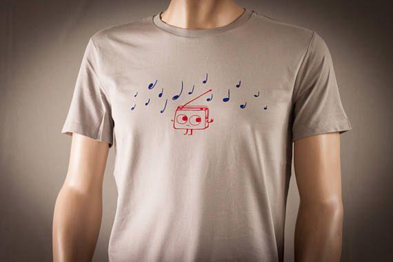 Radio Musik T-Shirt für Männer Farbe Stone   Süsses Rotes