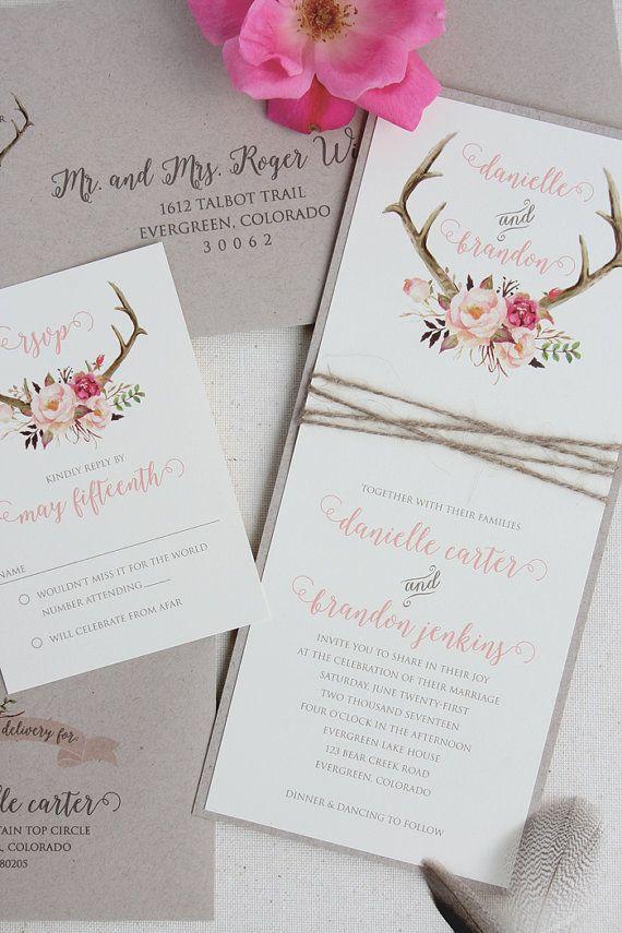 Rustikale Geweih Einladung Hochzeitssuite von TigerLilyInvitations