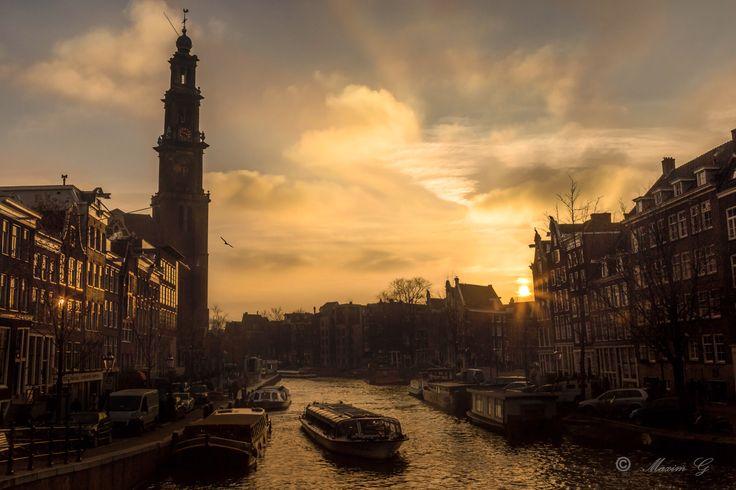 #Amsterdam #prinsengracht #westertoren #sunset #canals #architecture #fotografie #photography