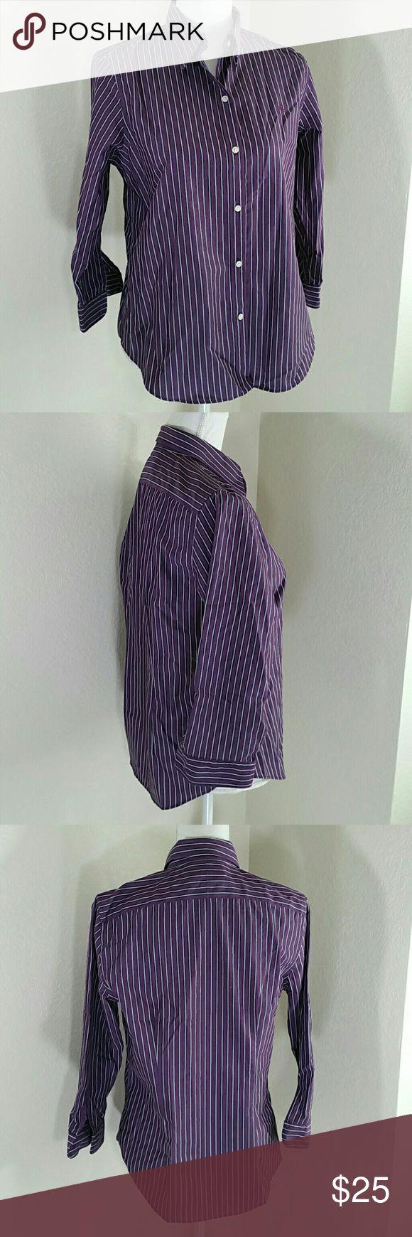 """Lauren Ralph Lauren Stripped Non Iron Shirt Excellent condition button front shirt, 100% cotton,  non iron, 3/4 sleeve  Chest 20% sleeve 19"""" collar to hem 26"""" Lauren Ralph Lauren Tops Button Down Shirts"""
