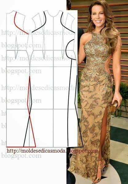 Molde de vestido con cintura abierta
