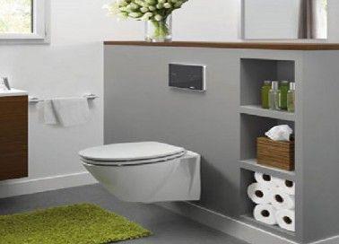 La déco des toilettes ne sa cache plus. Cuvette WC suspendu et meubles lave-mains en bois laqué rouge pour une déco de toilettes au top