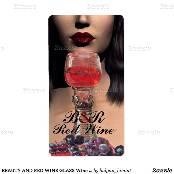 BEAUTY AND RED WINE GLASS Wine Tasting Party Label