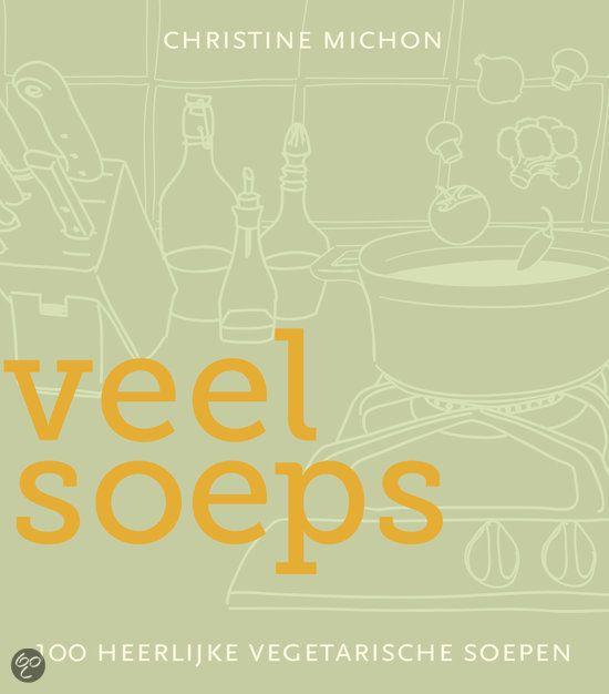 """Veel soeps - Christine Michon (2012). 100 vegetarische soepen.  Het eerste Nederlandse boek met uitsluitend soepen zonder vlees en vis. De meeste gerechten bevatten ook geen zuivel of gluten. De auteur geeft recepten voor elk van de vier seizoenen, uitgaande van de groenten die in de directe omgeving geteeld worden. """"Veel soeps"""" is een inspirerend boek met heerlijke soepen die gemakkelijk te maken zijn."""