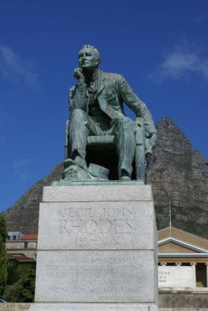 The statue of Cecil John Rhodes at UCT campus - now removed due to pressure from…