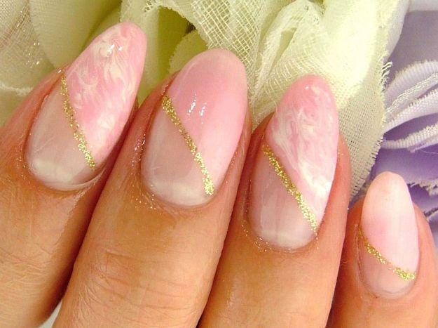 Свадебный косой розовый френч ::: onelady.ru ::: #nail #nails #nailart #manicure