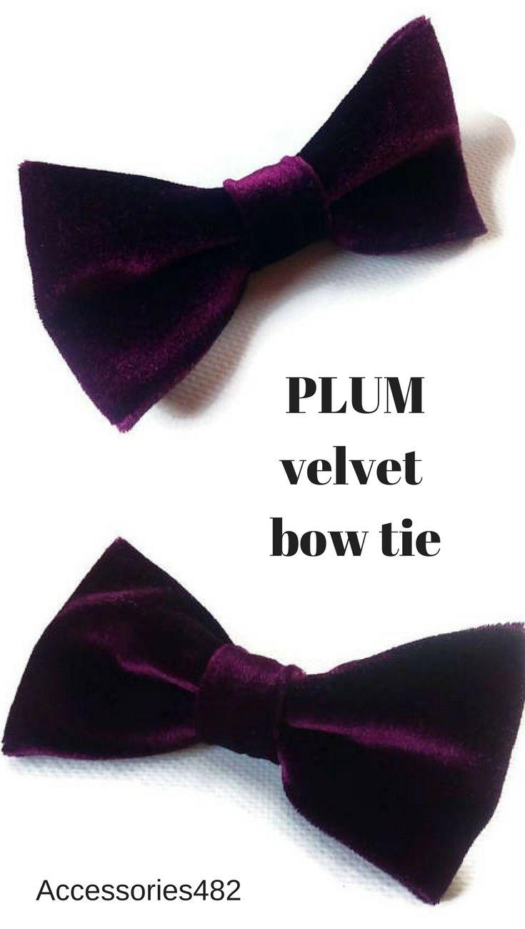 Plum velvet bow tie Available also as SELF tie bow tie, skinny neck tie, pocket square Groomsmen plum velvet bow ties Plum wedding velvet neckties Groom's velvet bow tie Plum velvet pocket square Ring bearers velvet bow ties #velvet #bowtie  #plumwedding