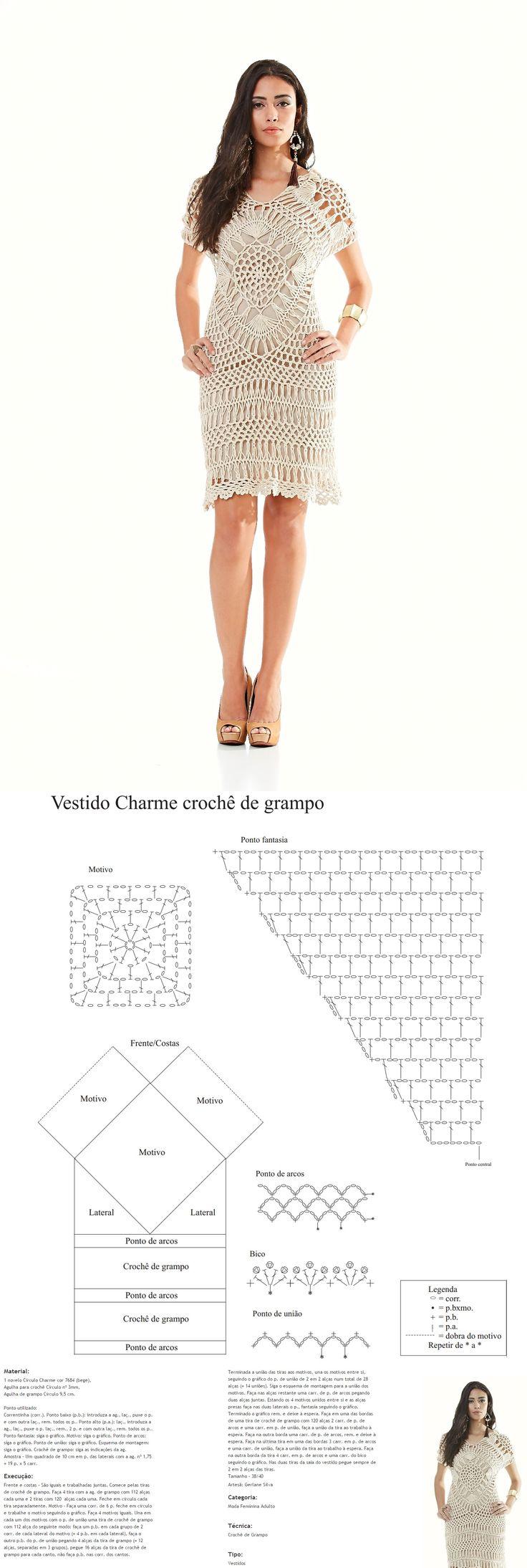 Receitas Círculo - Vestido Charme Crochê de Grampo